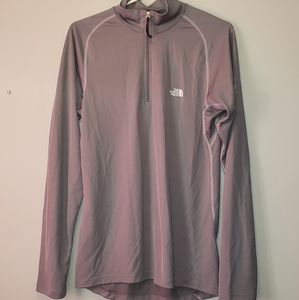 The north face long sleeve gray pull over shirt